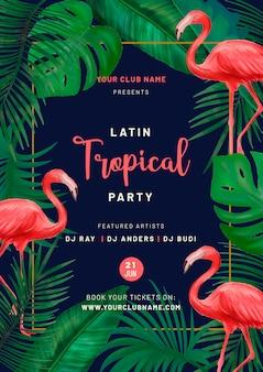 Plakat tropikalnej imprezy z różowymi flamingami