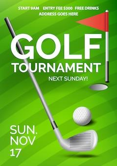 Plakat turnieju golfowego z informacją, zielonym polem, piłką, klubem i czerwoną flagą w dołku.