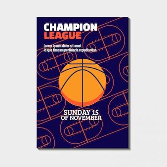 Plakat turnieju mistrzostw koszykówki z areną sportową