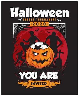 Plakat turnieju piłki nożnej halloween