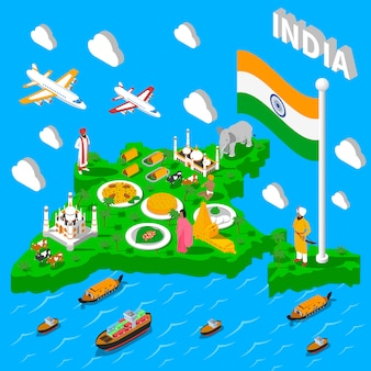 Plakat turystyczny izometryczny mapa indii
