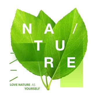 Plakat typografia zielone liście z napisem natura. ekologiczny szablon do projektowania i druku