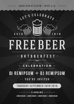 Plakat typograficzny festiwalu piwa oktoberfest