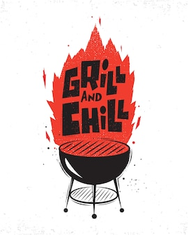 Plakat typograficzny z grillem.
