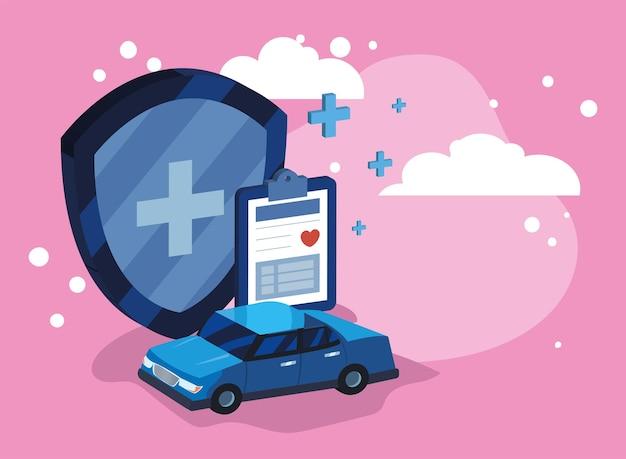 Plakat ubezpieczenia samochodu i medycyny