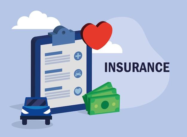 Plakat ubezpieczenie samochodu i ubezpieczenie zdrowotne