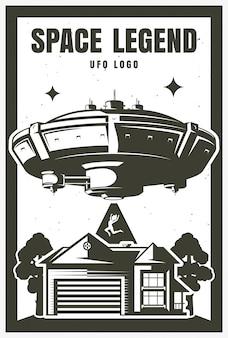 Plakat ufo obiekt, porwanie. ilustracja. nadruk na koszulce