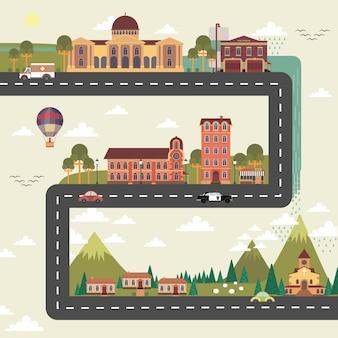 Plakat ulicy miasta i przedmieścia