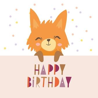 Plakat urodzinowy ładny lis