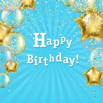 Plakat urodzinowy z ilustracją złotej gwiazdy balony