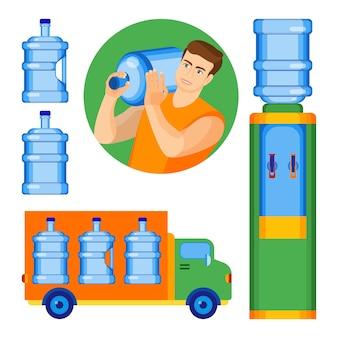 Plakat usługi dostarczania wody butelkowanej z mężczyzną dostarczającym butelkę do biura, samochód przewożący czystą wodę do konsumentów i chłodnicę z gorącym i zimnym płynem