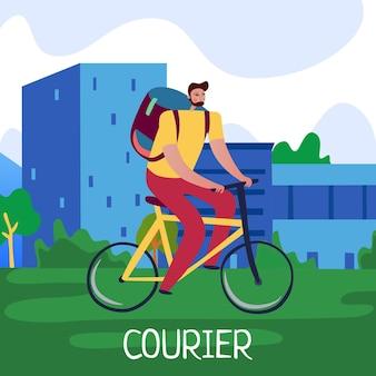Plakat usługi kurierskiej z płaską ilustracją symboli szybkiej dostawy