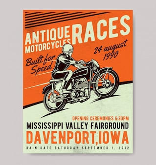 Plakat vintage biker