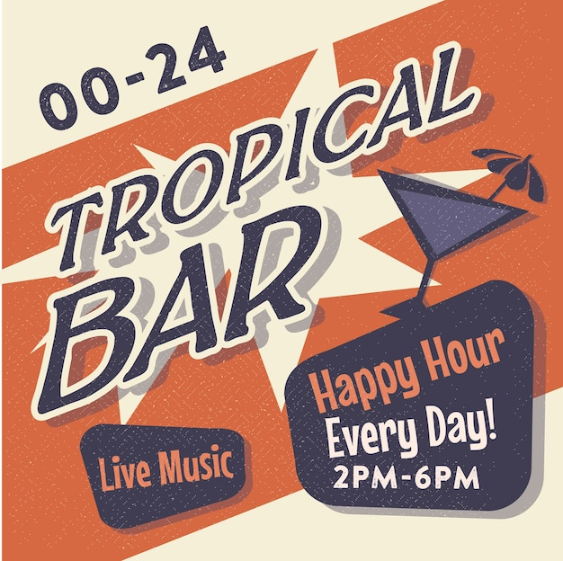 Plakat vintage tropical bar