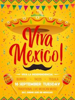 Plakat viva mexico z meksykańskimi symbolami sombrero, wąsami i marakasami. kreskówka ulotka z girlandami flagowymi i konfetti, zaproszenie na festiwal tradycyjnej imprezy z muzyką na żywo, wakacje w meksyku