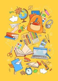 Plakat w stylu doodle z przyborami szkolnymi i papeterią