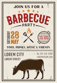Plakat w stylu retro grill party