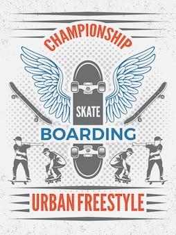 Plakat w stylu retro na mistrzostwa w skateboardingu. szablon z miejscem na twój tekst. odznaka na deskorolce na mistrzostwa, emblemat miejski sport ectreme ilustracji
