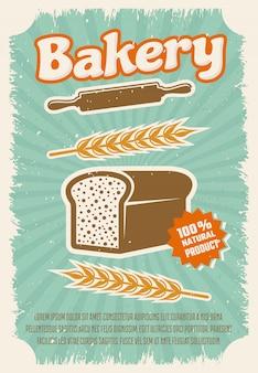 Plakat w stylu retro piekarnia