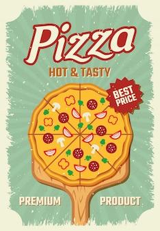 Plakat w stylu retro pizzy