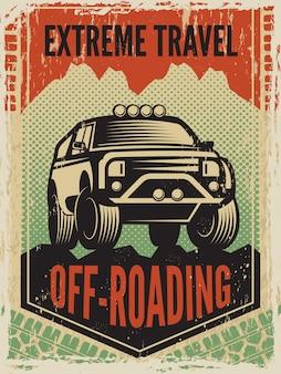Plakat w stylu retro z dużym samochodem suv. maszyna drogowa