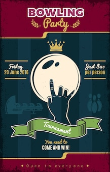 Plakat w stylu vintage bowling party