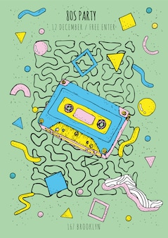 Plakat w stylu vintage, retro, memphis 80s-90s z geometrycznymi nowoczesnymi kształtami. szablon afisz party z kasetą.