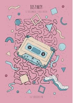 Plakat w stylu vintage, retro z lat 80-90-tych z geometrycznymi nowoczesnymi kształtami szablon plakatu imprezowego z kasetą