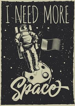 Plakat w stylu vintage z ilustracją księżycowego łazika i planety