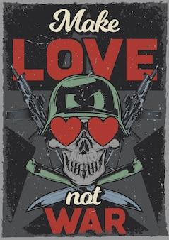 Plakat w stylu vintage z ilustracją przedstawiającą czaszkę z sercami w oczach, ak-47 i nożami