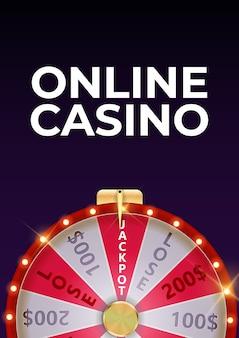 Plakat w tle kasyna online z kołem fortuny, szczęśliwą ikoną.