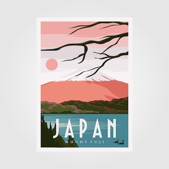 Plakat w tle mount fuji, japoński plakat vintage