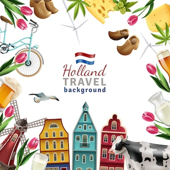 Plakat w tle ramki podróży holandia