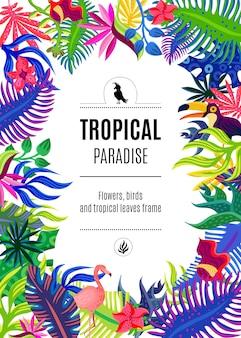 Plakat w tle tropikalnej rajskiej ramy