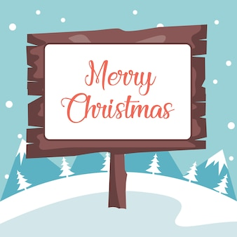 Plakat w zimowy krajobraz z wesołych świąt bożego narodzenia śnieg