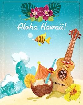 Plakat wakacje gitara na hawajach