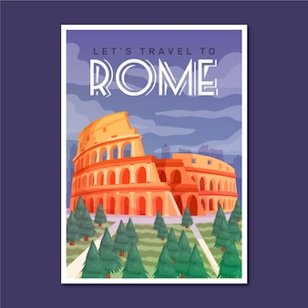 Plakat wakacje rzym podróży
