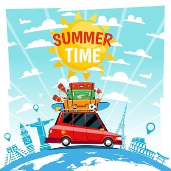 Plakat wakacji letnich samochodu.