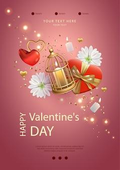 Plakat walentynkowy. kreatywna kompozycja z klatką, świecą, kwiatami i prezentami