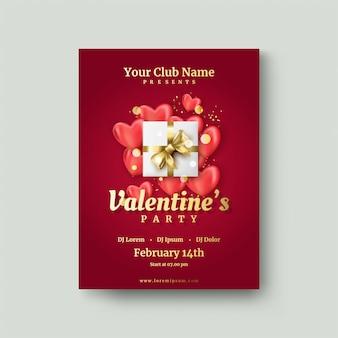 Plakat walentynkowy z pudełkiem na czerwonym balonie miłości.
