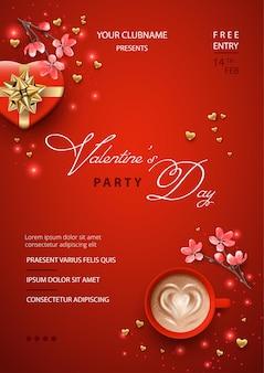 Plakat walentynkowy z pudełkiem w kształcie serca, różowymi kwiatami i filiżanką kawy