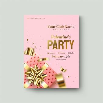 Plakat walentynkowy z różowym pudełkiem i złotą wstążką na różu
