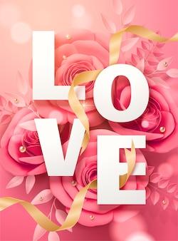 Plakat walentynkowy z różowymi papierowymi kwiatami i złotymi wstążkami na ilustracji 3d