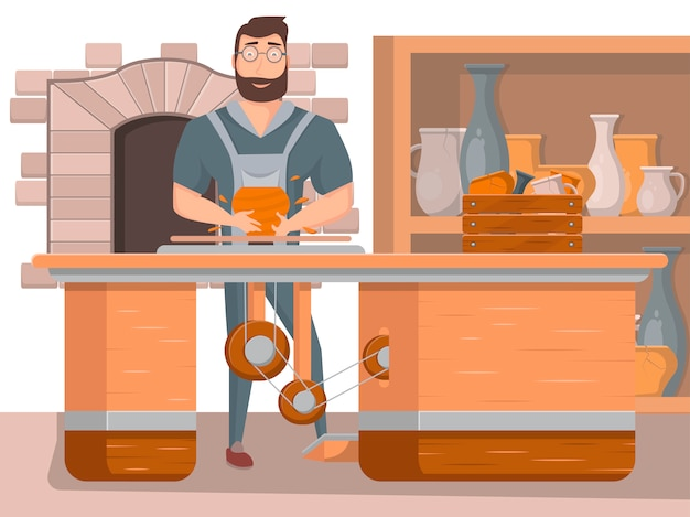 Plakat warsztatu ceramiki z pracującym garncarzem