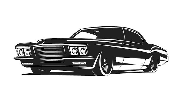 Plakat wektor czarno-biały samochód mięśni