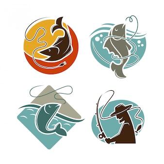 Plakat wektor koncepcja połowów na białym tle.