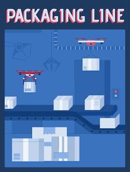 Plakat wektor koncepcji linii pakowania