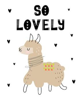 Plakat wektorowy z uroczym zwierzęciem kreskówka dla dzieci i zabawnym hasłem w skandynawskim stylu