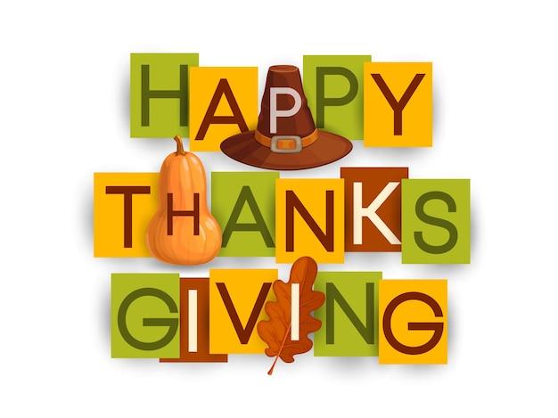 Plakat wesołego dziękczynienia z jesiennym liściem dębu, brązowym kapeluszem i dynią. dzięki dając życzenia świąteczne dzień pozdrowienia typografia litery na kartkach prostokątnych kolorowy papier na białym tle