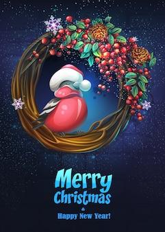 Plakat wesołych świąt bożego narodzenia z ptaszkiem na wieńcu